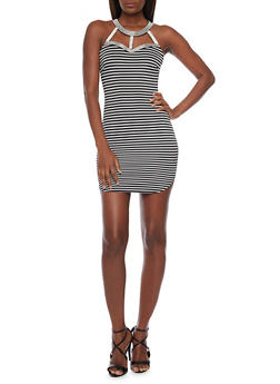 Striped Bodycon Mini Dress with Cutout Halter Neck - 1410065622992