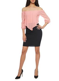 Off the Shoulder Mini Dress - 1410065623034