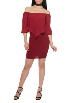 Off the Shoulder Mini Dress - BURGUNDY - 1410065623034