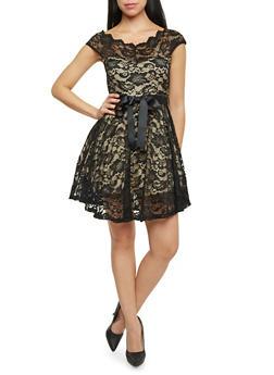 Off The Shoulder Skater Dress in Lace - 1410065623049