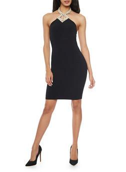 Rib Knit Mini Dress with Studded Halter Neck - BLACK - 1410065623158