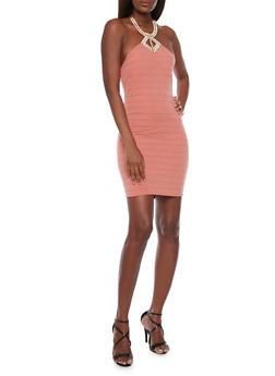 Rib Knit Mini Dress with Studded Halter Neck - 1410065623158