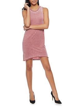 Sleeveless Marled T Shirt Dress - BURGUNDY - 1410066490167