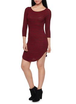 Shirttail Hem Striped T Shirt Dress - 1410066490429