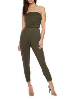 Strapless Ruched Jumpsuit - OLIVE - 1410066490435