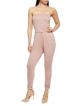 Strapless Ruched Jumpsuit - MAUVE - 1410066490435