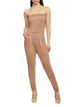 Strapless Ruched Jumpsuit - TOWN TAUPE - 1410066490435