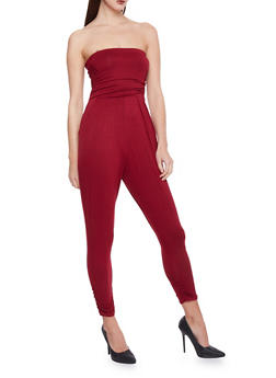 Strapless Ruched Jumpsuit - BURGUNDY - 1410066490435