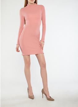 Rib Knit Long Sleeve Bodycon Dress - 1410066490873