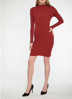Rib Knit Long Sleeve Bodycon Dress - 1410066490873