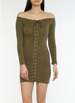 Lace Up Off the Shoulder Dress - 1410066491378