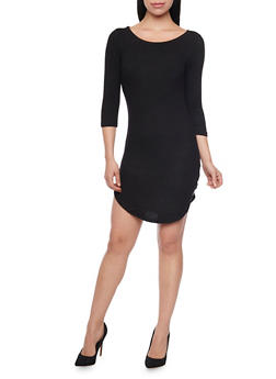 Soft Knit T Shirt Dress with Rounded Hem - BLACK - 1410066491429