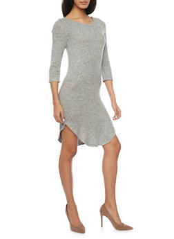 Soft Knit T Shirt Dress with Rounded Hem - 1410066491429