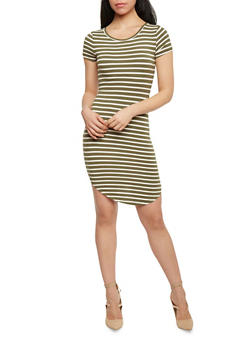 Striped T Shirt Dress with Rounded Hem - 1410066491464