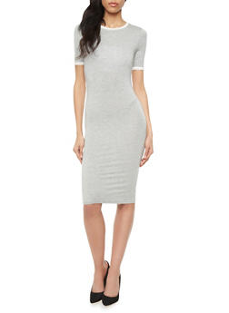 Bodycon Midi Dress with Half Sleeves and Contrast Trim - 1410066491633