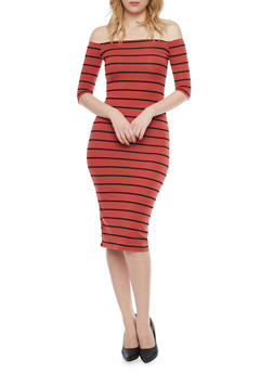 Off The Shoulder Striped Midi Dress - 1410066491692