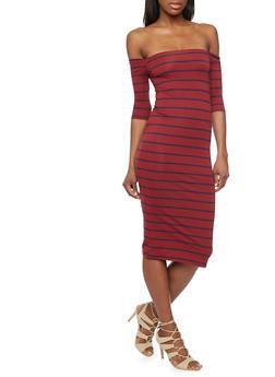 Striped Off The Shoulder Midi Dress - 1410066491692