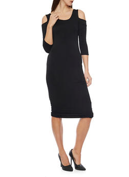 Ruched Midi Cold Shoulder Dress - BLACK - 1410066491877