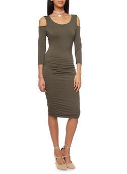 Ruched Mid Length Cold Shoulder Dress - 1410066491877