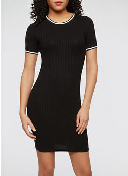 Varsity Stripe Trim Dress - BLACK - 1410066491907