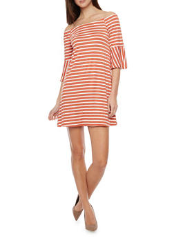 Off the Shoulder Striped 3/4 Bell Sleeve Dress - 1410066491927