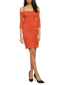 Off the Shoulder Bodycon T Shirt Dress with Straps - 1410066491939