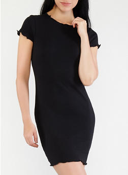 Ribbed Knit T Shirt Dress - BLACK - 1410066492159