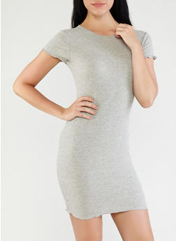 Ribbed Knit T Shirt Dress - 1410066492159