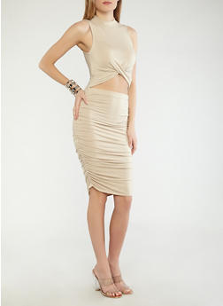 Open Front Ruched Dress - 1410066493153