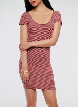 Striped Bodycon Dress - 1410066493256