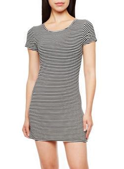 Short Sleeve Striped T-Shirt Dress,BLACK/WHITE,medium
