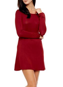 Basic Longline Dress with Long Sleeves,BURGUNDY,medium