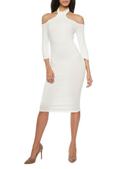 Mid Length Off The Shoulder Dress with Choker Collar - 1410066496399