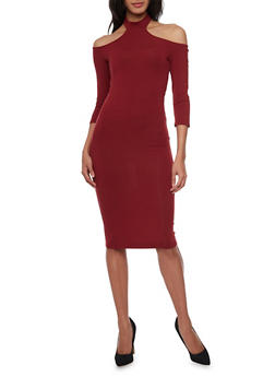 Mid Length Off The Shoulder Dress with Choker Collar - BURGUNDY - 1410066496399