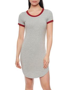 Classic Ringer T Shirt Dress - 1410066496429