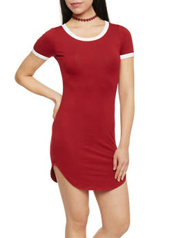 Classic Ringer T Shirt Dress - WINE LT - 1410066496429