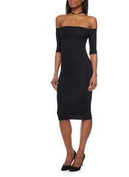Off The Shoulder Mid Length Bodycon Dress - BLACK - 1410066496929