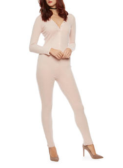 Ribbed Knit Henley Jumpsuit - ROSE - 1410066496983