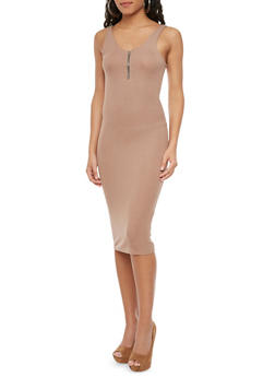 Ribbed Tank Midi Dress with V Neck and Zip Up Back - 1410066497260