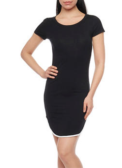 Rounded Hem T Shirt Dress with Contrast Piping - BLACK - 1410066497429