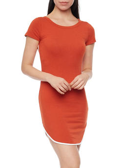 Rounded Hem T Shirt Dress with Contrast Piping - 1410066497429