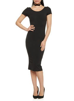 Short Sleeve Scoop Neck Bodycon T Shirt Dress - BLACK - 1410066497913