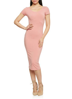 Short Sleeve Scoop Neck Bodycon Dress - 1410066497913