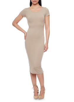 Short Sleeve Scoop Neck Bodycon Dress - 1410066497913