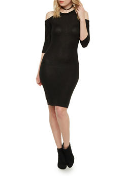 Cold Shoulder Midi Dress - BLACK - 1410066498313