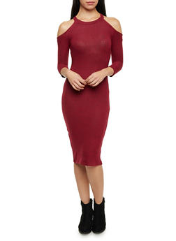 Cold Shoulder Midi Dress - 1410066498313