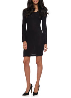 Marled Long Sleeve Sweater Dress - BLACK - 1410066498586