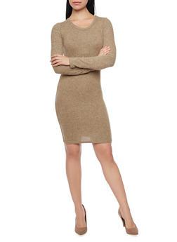 Marled Long Sleeve Sweater Dress - 1410066498586