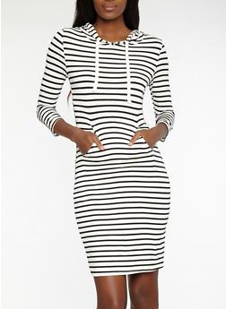 Striped Hooded Dress - WHT-BLK - 1410066498756