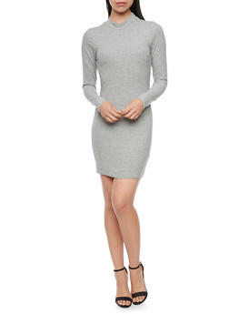 Long Sleeve Mini Dress in Rib Knit Fabric - 1410066498863